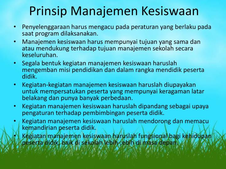 Prinsip Manajemen Kesiswaan