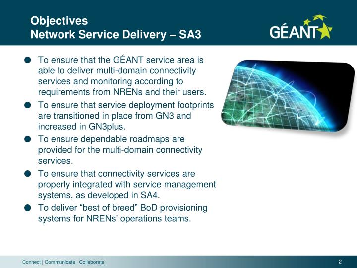 Objectives network service delivery sa3