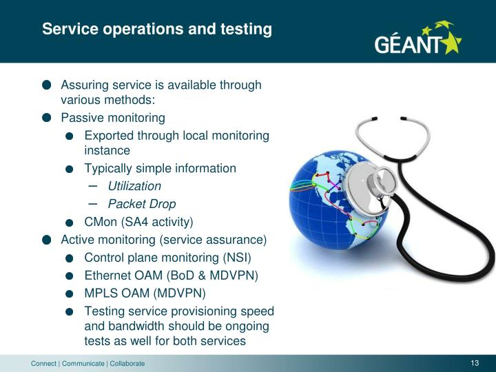 Service operations and testing
