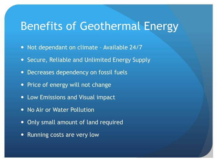 Benefits of geothermal energy
