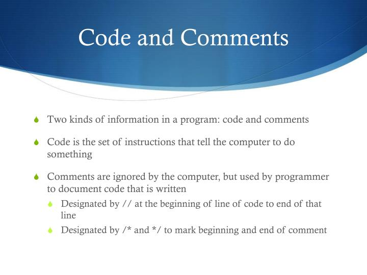 Code and Comments