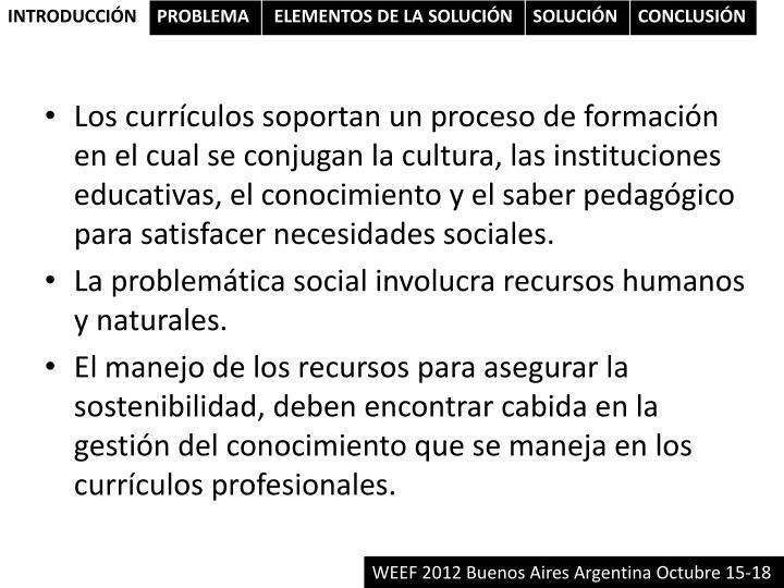 Los currículos soportan un proceso de formación en el cual se conjugan la cultura, las instituciones educativas, el conocimiento y el saber pedagógico para satisfacer necesidades sociales.