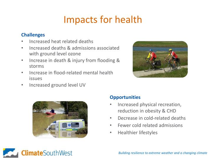 Impacts for health
