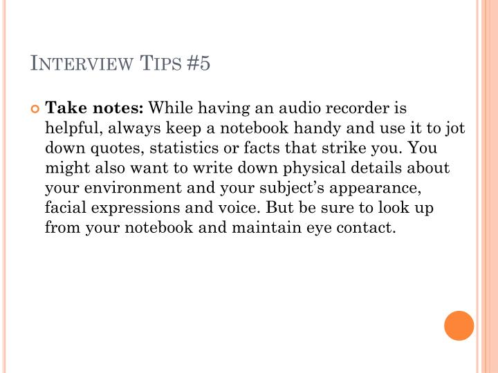 Interview Tips #5