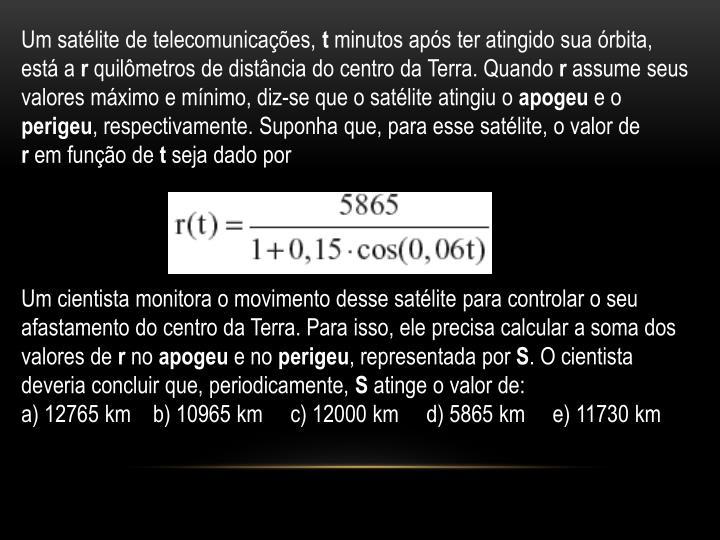 Um satélite de telecomunicações,