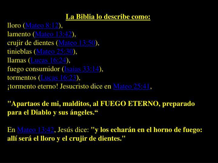 La Biblia lo describe como: