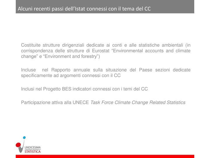 Alcuni recenti passi dell'Istat connessi con il tema del CC