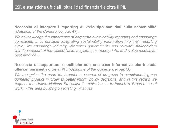 CSR e statistiche ufficiali: oltre i dati finanziari e oltre il PIL