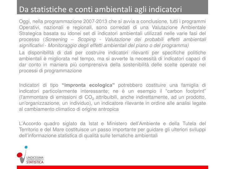 Da statistiche e conti ambientali agli indicatori