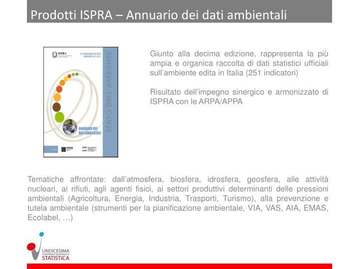 Prodotti ISPRA – Annuario dei dati ambientali