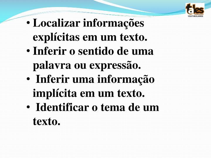 Localizar informações explícitas em um texto