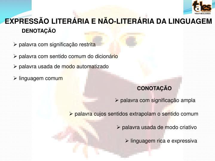 EXPRESSÃO LITERÁRIA E NÃO-LITERÁRIA DA LINGUAGEM