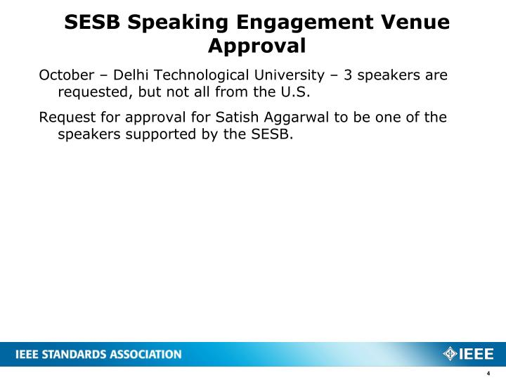 SESB Speaking Engagement Venue Approval