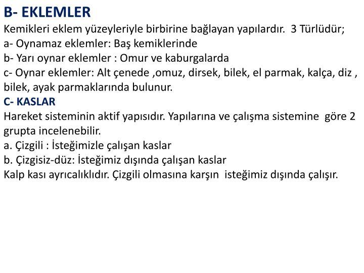 B- EKLEMLER