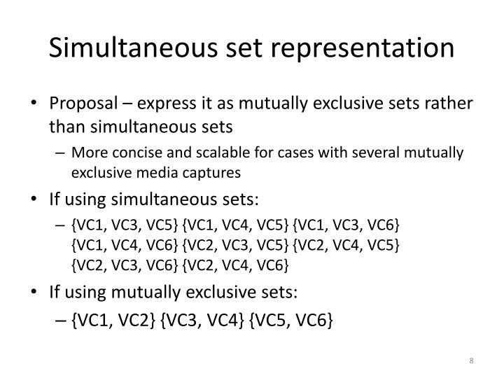 Simultaneous set representation