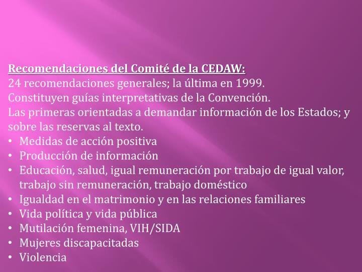Recomendaciones del Comité de la CEDAW: