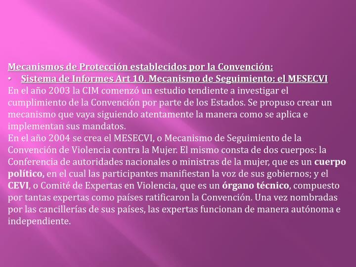Mecanismos de Protección establecidos por la Convención: