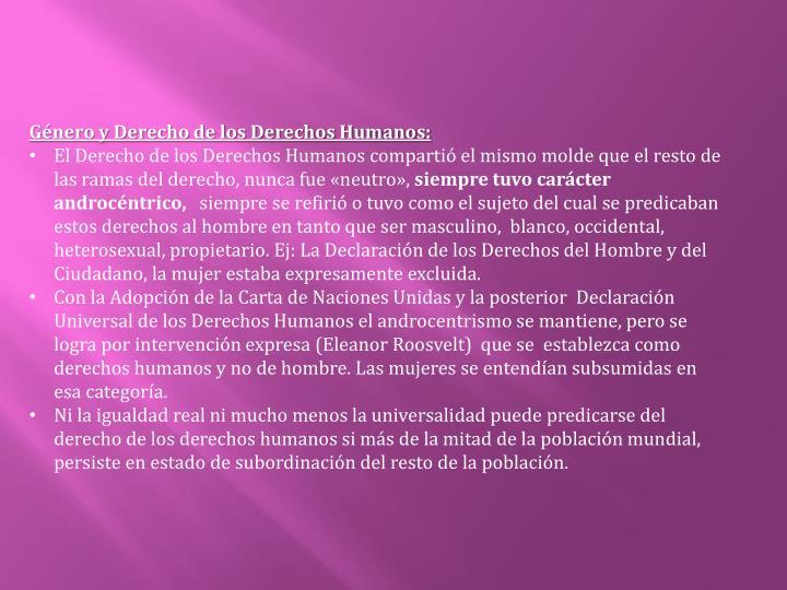 Género y Derecho de los Derechos Humanos: