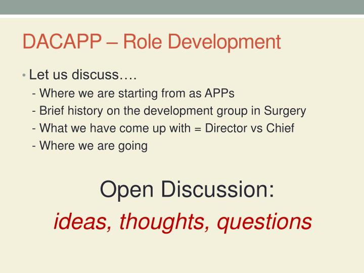 Dacapp role development