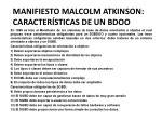 manifiesto malcolm atkinson caracter sticas de un bdoo