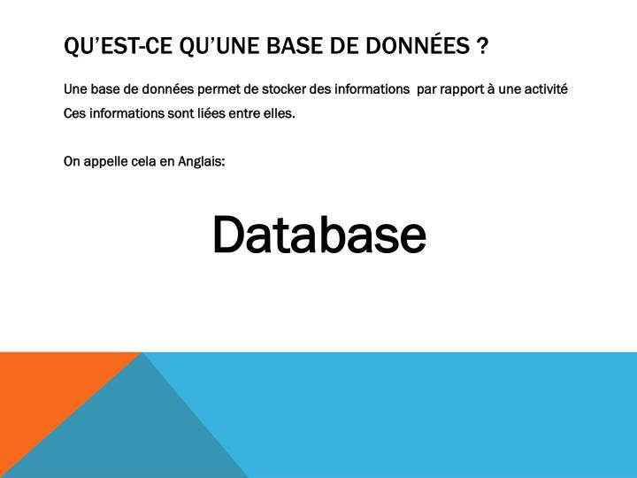 Qu'est-ce qu'une base de données ?