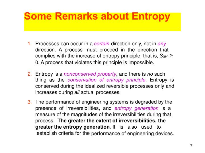 Some Remarks about Entropy