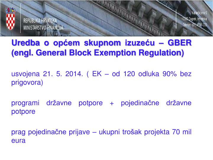 Uredba o općem skupnom izuzeću – GBER (engl. General