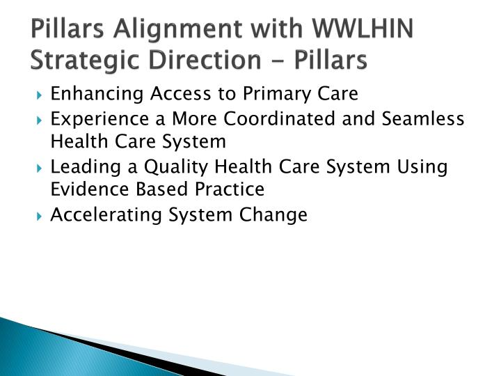Pillars Alignment with WWLHIN Strategic Direction - Pillars