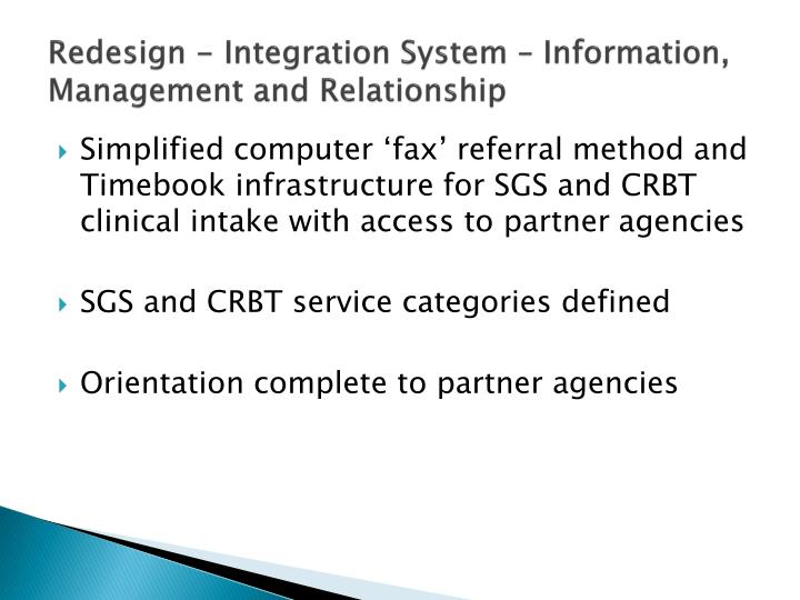Redesign - Integration System – Information, Management and Relationship