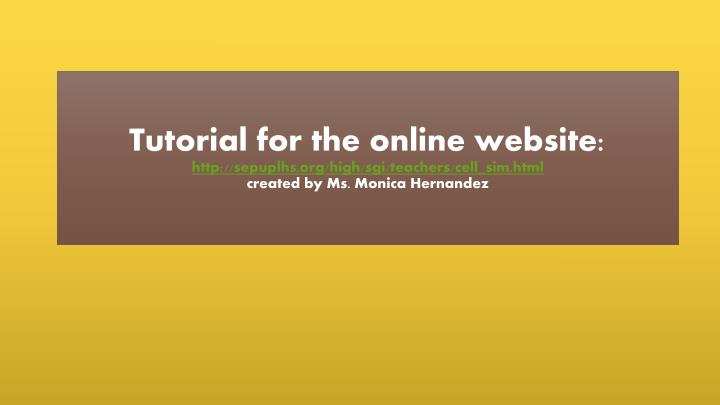 Tutorial for the online website: