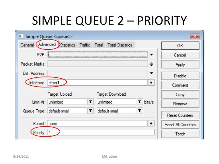 SIMPLE QUEUE 2 – PRIORITY