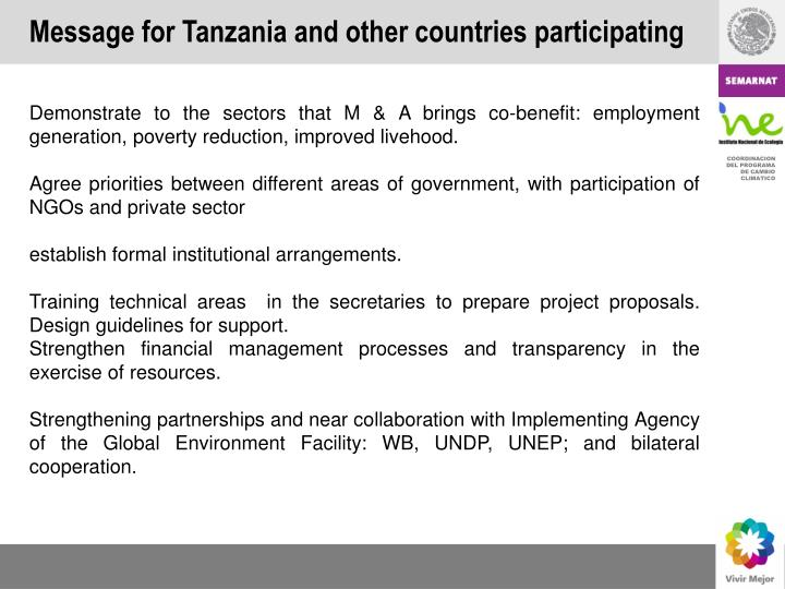 Message for Tanzania and other countries participating