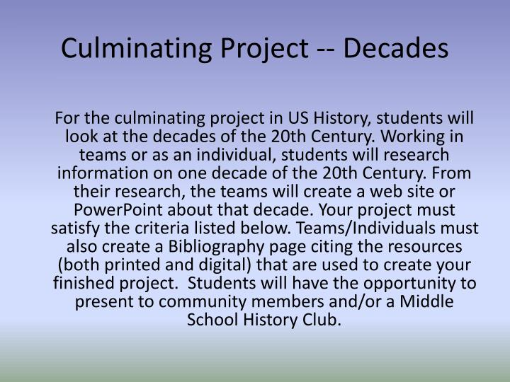 Culminating Project -- Decades