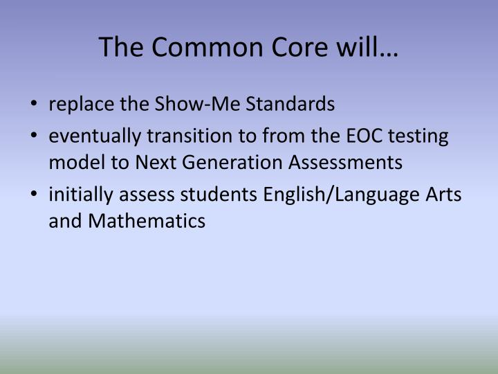 The Common Core will…