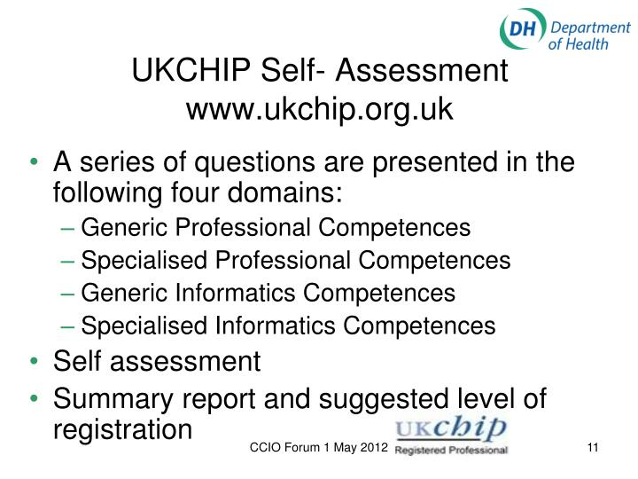 UKCHIP Self- Assessment www.ukchip.org.uk