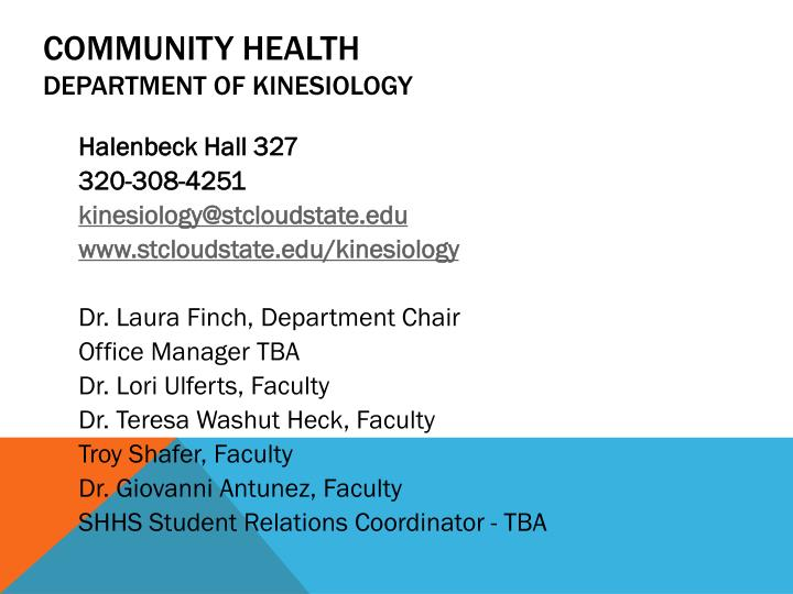Community health department of kinesiology