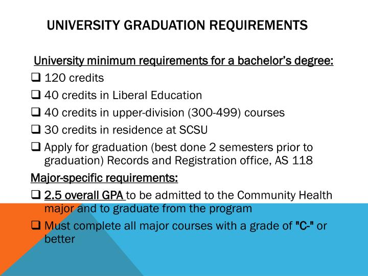 University graduation requirements