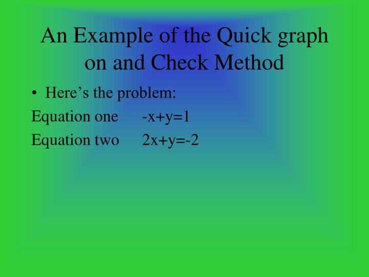 An Example of the Quick graph on and Check Method