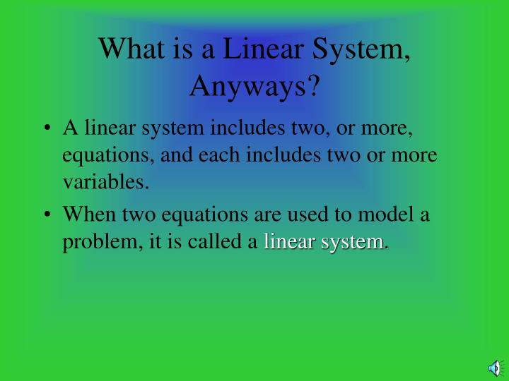 What is a Linear System, Anyways?