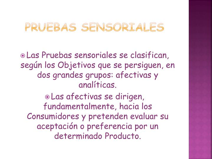 Pruebas sensoriales