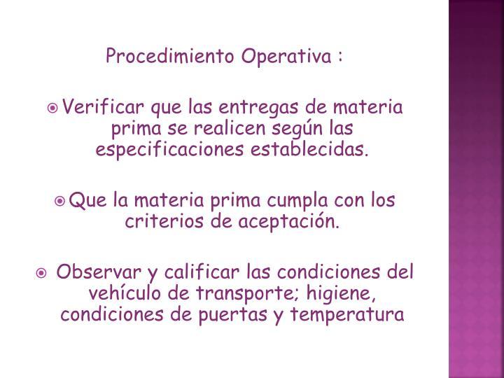 Procedimiento Operativa