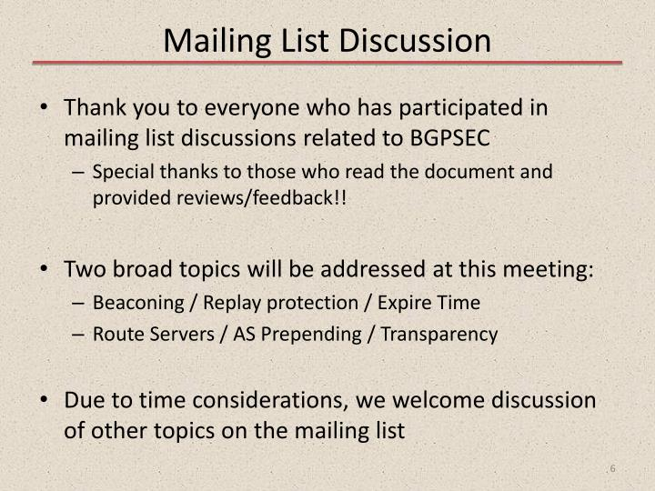 Mailing List Discussion