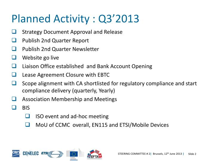 Planned Activity : Q3'2013