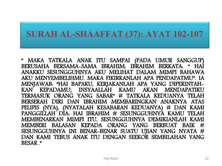 SURAH AL-SHAAFFAT (37): AYAT 102-107