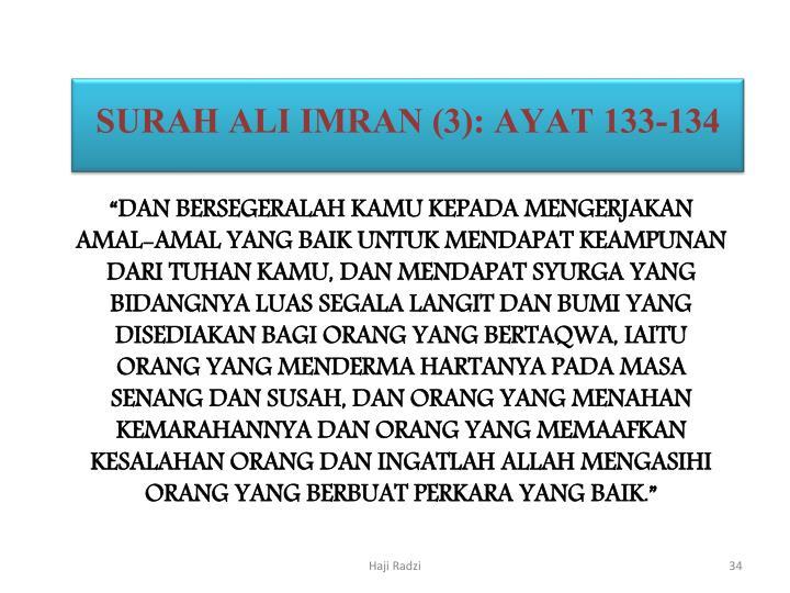 SURAH ALI IMRAN (3): AYAT 133-134