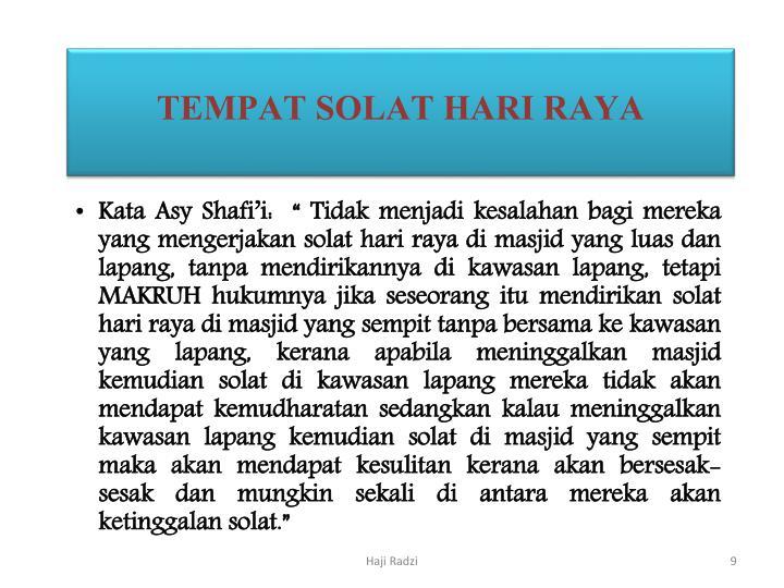 TEMPAT SOLAT HARI RAYA
