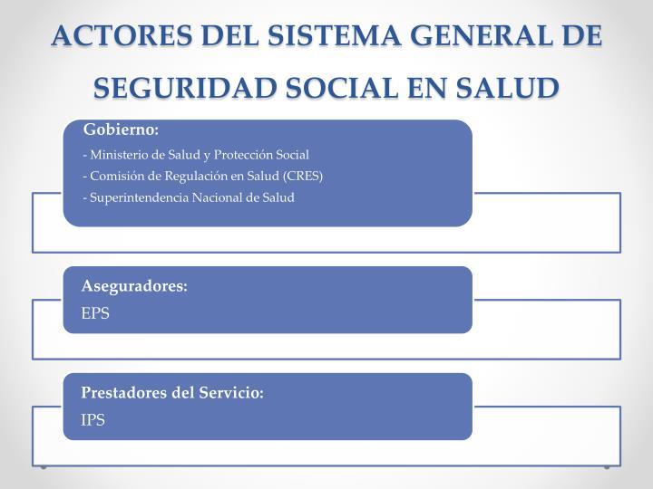 ACTORES DEL SISTEMA GENERAL DE SEGURIDAD SOCIAL EN SALUD