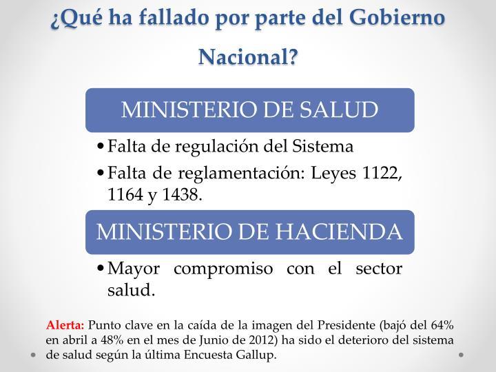 ¿Qué ha fallado por parte del Gobierno Nacional?