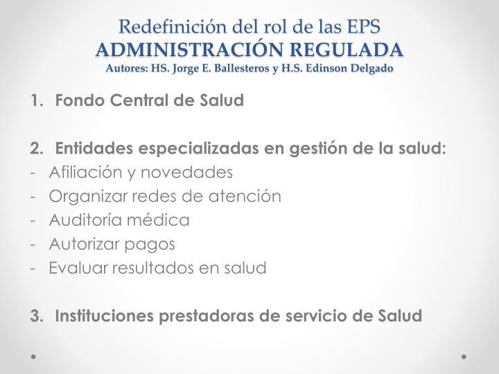 Redefinición del rol de las EPS