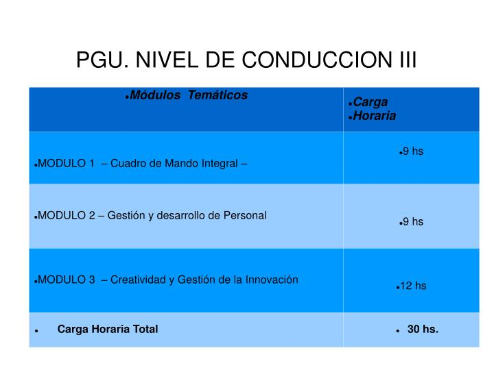 PGU. NIVEL DE CONDUCCION III